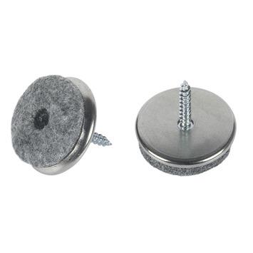 Patin de feutre Suki à vis 24 mm nickelé 8 pièces