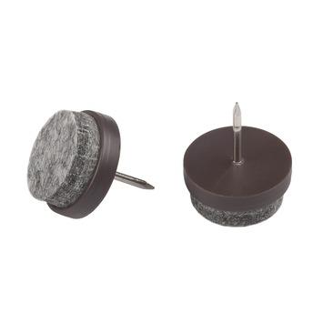 Patins de meuble à clou Suki 20 mm plastique brun 8 pièces