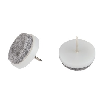 Patins de meuble à clou Suki 24 mm plastique blanc 24 pièces