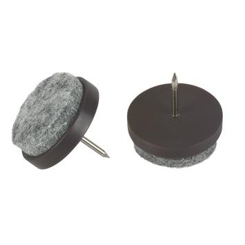 Patins de meuble à clou Suki 28 mm plastique brun 8 pièces