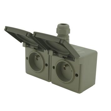Niko Hydro opbouwstopcontact 2-polig met aarding 2-voudig horizontaal met 1 ingang spuitwaterdicht grijs