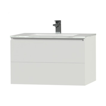 Tiger Items badkamerset 70 cm wit met wastafel glas wit
