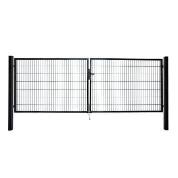 Dubbele poort Roma/Milano zwart 2x 100x200 cm