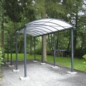 Car-port toit arqué opalin 300x500 cm gris