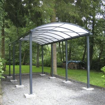 Car-port toit arqué opalin 300x700 cm gris