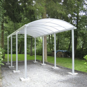 Car-port toit arqué opalin 300x500 cm blanc