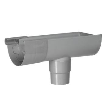 Naissance droite pour gouttière Martens joint caoutchouc 125 mm gris clair