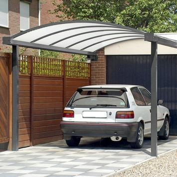 Car-port fixation murale frontale opalin 300x500 cm gris