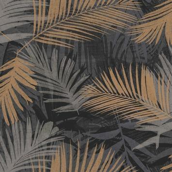 Vliesbehang Jungle zwart-goud 104263