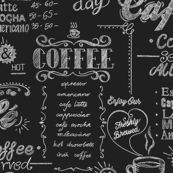 Vliesbehang Coffee krijtmuur zwart-wit 32-993