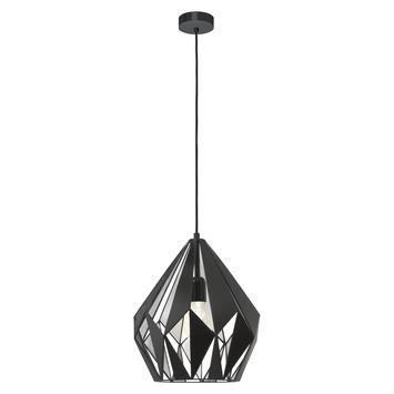 Eglo hanglamp Carlton 1 zwart zilver