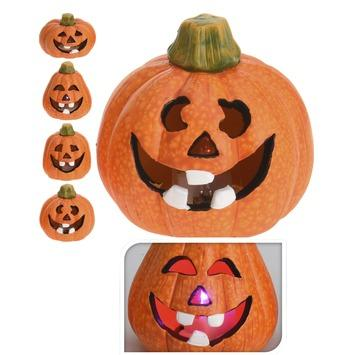 Halloween Pompoen.Halloween Pompoen Multi Led Keramiek 6x6x7 Cm
