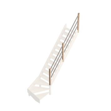 Savoie leuning met grijze metaalbuizen voor trap met kwartslag