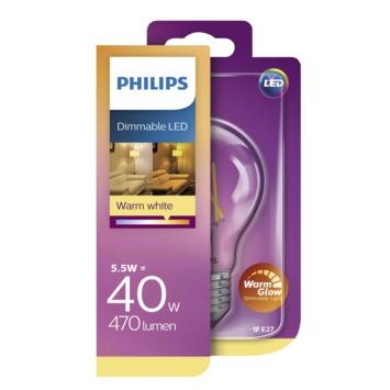 Ampoule LED poire filament Philips E27 5,5 W 470 Lm WarmGlow