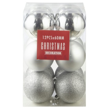 Kerstbal 60 mm 12 stuks zilver