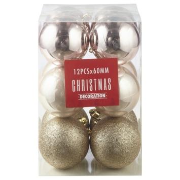 Kerstbal 60 mm mix 12 stuks