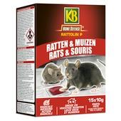 KB Rattolin P pasta tegen ratten en muizen 15 x 10 g