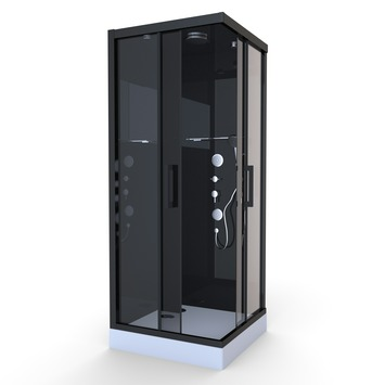 Cabine de douche Black Mirror 2 Aurlane carrée 90x90 cm