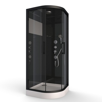 Aurlane douchecabine Black Mirror 2 1/4 rond 90x90 cm