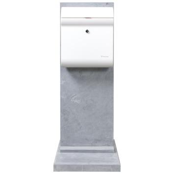 Brievenbus Penne Design White met Bluestone staander