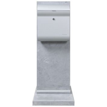 Brievenbus Penne Design Metallic met Bluestone staander