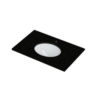 Lavabo simple Heros Bruynzeel 15x80x51 cm ovale granit noir/céramique blanche