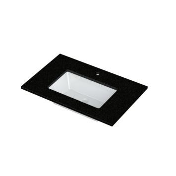 Lavabo simple Heros Bruynzeel 15x80x51 cm rectangulaire granit noir/céramique blanche