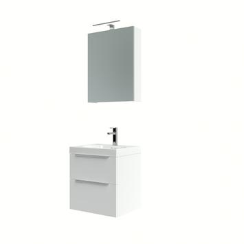 Ensemble meuble de salle de bain Muza Bruynzeel 50cm blanc brillant avec armoire à miroir
