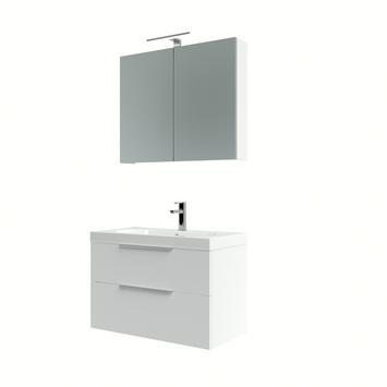 Ensemble meuble de salle de bain Muza Bruynzeel 80cm blanc brillant avec armoire à miroir
