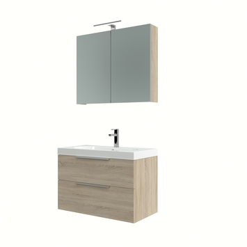 Ensemble meuble de salle de bain Muza Bruynzeel 80cm chêne gris avec armoire à miroir