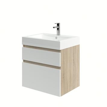 Monta badkamermeubel met wastafel grijs eiken/hoogglans wit 60 cm
