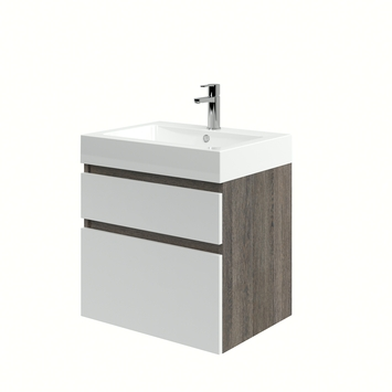 Monta badkamermeubel met wastafel wengé/hoogglans wit 60 cm