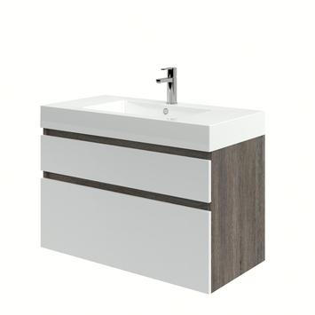 Monta badkamermeubel met wastafel wengé/hoogglans wit 90 cm