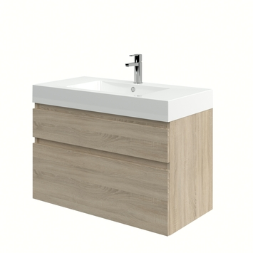 Monta badkamermeubel met wastafel grijs eiken 90 cm