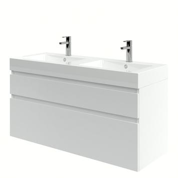 Meuble de salle de bain Monta avec lavabo blanc haute brillance 120 cm