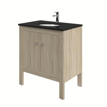 Heros badkamermeubel staand met wastafel rond grijs eiken 80 cm
