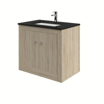 Heros badkamermeubel hangend met wastafel rechthoekig grijs eiken 80 cm