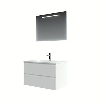 Bruynzeel Cadiza badkamermeubelset 80cm mat wit met spiegel