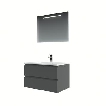 Bruynzeel Cadiza badkamermeubelset 80cm grafiet met spiegel