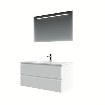 Bruynzeel Cadiza badkamermeubelset 100cm mat wit met spiegel