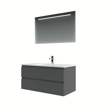 Bruynzeel Cadiza badkamermeubelset 100cm grafiet met spiegel