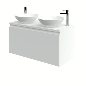 Bruynzeel Nerano badkamermeubelset 100 cm mat wit met 2 opbouw lavabo's