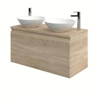 Bruynzeel Nerano badkamermeubelset 100 cm bardolino met 2 opbouw lavabo's