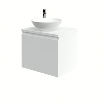 Bruynzeel Nerano badkamermeubelset 60 cm mat wit met opbouw lavabo