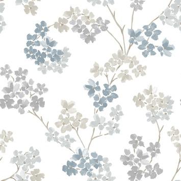Intissé coloré motif floral bleu 2258-41 10 m x 52 cm