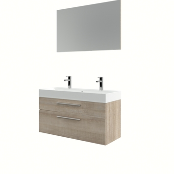 Set de meuble de salle de bains Zelda Bruynzeel avec miroir 100 cm chêne clair