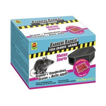 Compo Barrière Radikal Toxa graantjes tegen muizen 2 x 25 g + voederdoos
