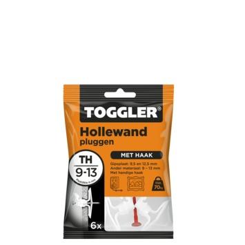 Cheville mur creux Toggler avec crochet 9-13 mm 6 pièces