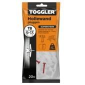 Cheville Toggler pour corps creux 26 x 8 mm, blanc, 20 pièces