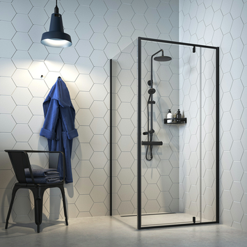 Porte pivotante + paroi latérale Contour 100x200 cm noir
